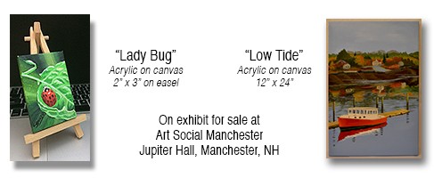 "Theresa_Bower_Acrylic_painting_on_Canvas_""Ladybug""_&_""Low_Tide"""